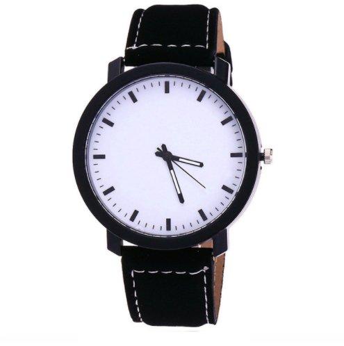 czarny zegarek z białą tarczą