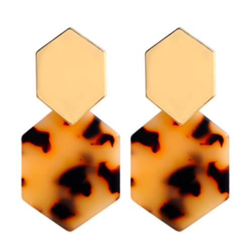 kolczyki geometryczne brązowe