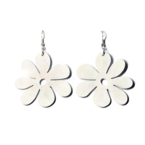 Kolczyki drewniane kwiatuszki białe