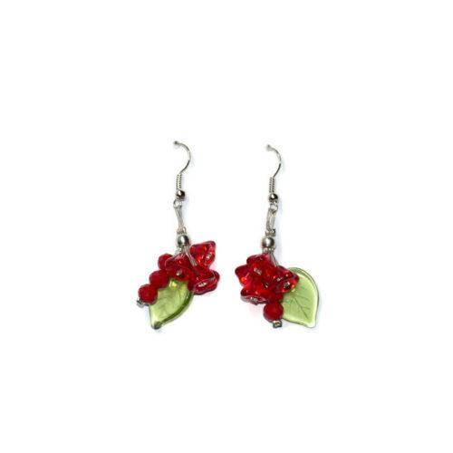 Kolczyki czerwone kwiatuszki