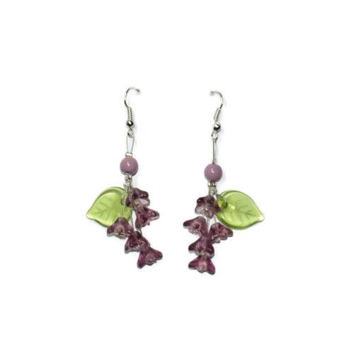 Kolczyki handmade fioletowe kwiatki